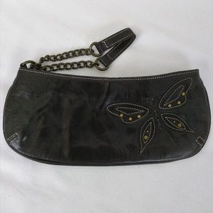 Fossil Dark Brown Leather Wristlet Butterfly Studs